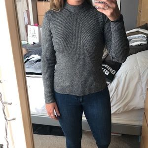 Gray ribbed mock neck sweater